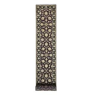 Rajasthan Half-wool Half-silk Burgundy Runner Rug (2'6 x 16'3)