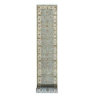 Rajasthan Silver Blue Half Wool Half Silk Runner Carpet (2'6 x 17'6)