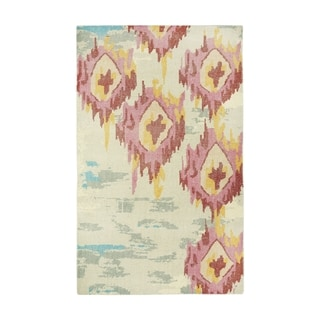 Classic-Sunset Rose/Silvertone Wool Rectangle Hand-knotted Rug (9' x 12')