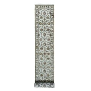 1800getarug Ivory Half-wool/Half-silk Rajasthan Hand-knotted Runner Rug (2'7 x16')