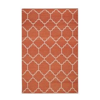 Genevieve Gorder Orange/White Serpentine Rectangle Flat Woven Rug (8' x 11')
