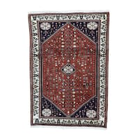Red Wool Persian Abadeh Hand-knotted Rug (4'10 x 6'10)