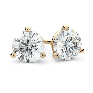 IGI Certified 18k Yellow Gold 3-prong Martini Round Diamond Stud Earrings 3/4ctw , H-I ,VS