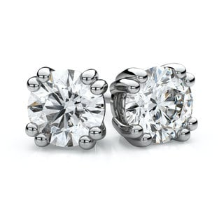 IGI Certified 18k White Gold Double Prong Round Diamond Stud Earrings 1 1/2ctw , H-I , SI