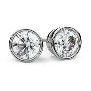 IGI Certified 18k White Gold Bezel Round Diamond Stud Earrings 1ctw , J-K , SI
