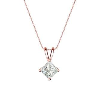 Auriya 14k Gold 1/4ct TDW Princess-Cut Diamond 4-Prong Basket Solitaire Necklace (J-K, I1-I2)