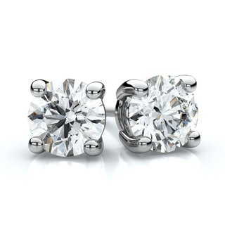 IGI Certified 18k White Gold 4-prong Round Diamond Stud Earrings 1 1/2ctw , H-I ,VS