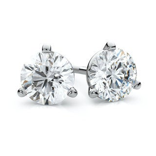 IGI Certified 18k White Gold 3-prong Martini Round Diamond Stud Earrings 2ctw , H-I ,VS