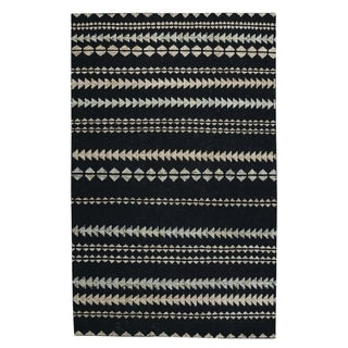 Genevieve Gorder Ebony/Beige Wool/Viscose/Cotton Scandinavian Striped Rectangular Hand-knotted Rug - 3' x 5'6