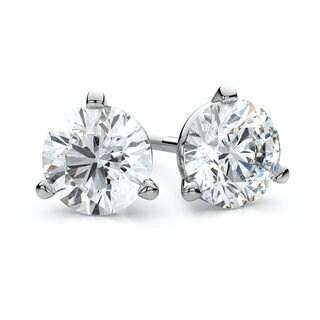 IGI Certified 18k White Gold 3-prong Martini Round Diamond Stud Earrings 1ctw , J-K , SI