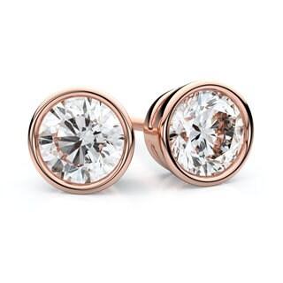 IGI Certified 14k Rose Gold Bezel Round Diamond Stud Earrings 3/4ctw , J-K , SI