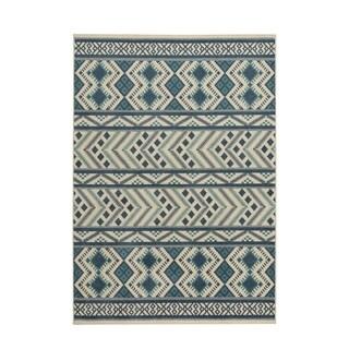 Genevieve Gorder Aster-Kelim Blue Olefin Machine-woven Rectangular Indoor/Outdoor Area Rug (3'10 x 5'5) - 3'10 x 5'5
