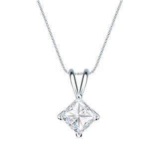 Auriya 14k Gold 1/2ct TDW Princess-Cut Diamond 4-Prong Basket Solitaire Necklace