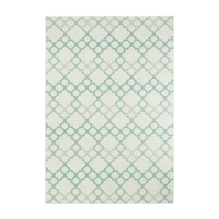 Kevin O'Brien Blue/Off-white Olefin Elsinore-Santorini Rectangular Machine-woven Rug (3'11 x 5'6)