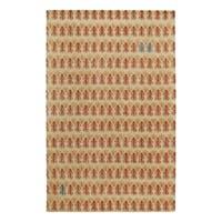 Genevieve Gorder Twigs Beige/Red Wool/Viscose Hand-tufted Rug (5' x 8') - 5' x 8'