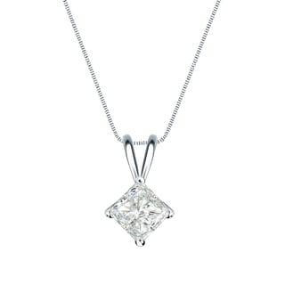 Auriya 14k Gold 1/3ct TDW Princess-Cut Diamond 4-Prong Basket Solitaire Necklace (I-J, SI2-SI3)