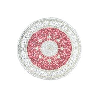Round Rich Red Hand-knotted Silken Oriental Rug (10'9 x10'9)