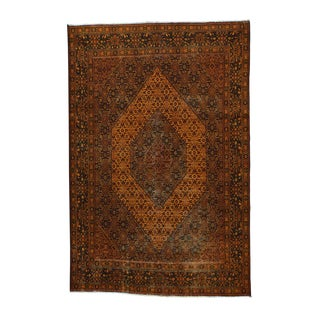 Bidjar Orange Wool Hand-knotted Overdyed Persian Oriental Rug (7'1 x 10')