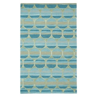 Kevin O'Brien Bucine Blue Rectangle Hand Tufted Rugs (5' x 8') - 5' x 8'
