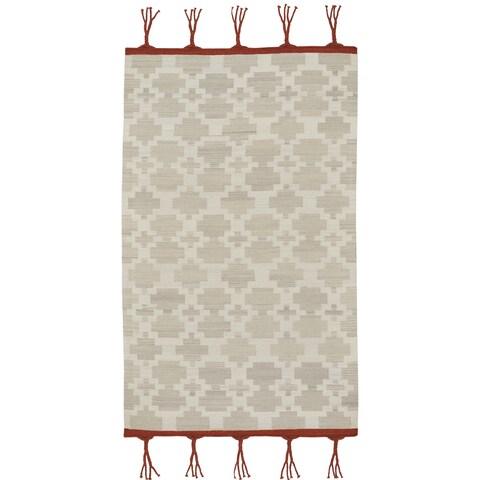 Genevieve Gorder Hyland Grey Wool Rectangular Flat-woven Rug - 5' x 8'