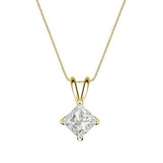 Auriya 14k Gold 1/3ct TDW Princess-Cut Diamond 4-Prong Basket Solitaire Necklace (J-K, I1-I2)