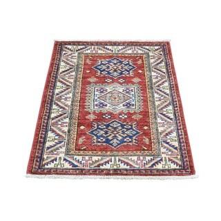 Tribal Design Red Wool Oriental Super Kazak Handmade Rug (2' x 2'10)