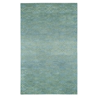 Kevin O'Brien Gave Blue/Grey Wool and Viscose Rectangle Hand-tufted Rug (5' x 8') - 5' x 8'
