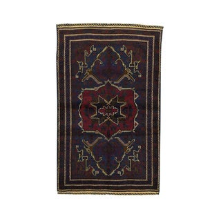 Afghan Baluch Tribal-design Burgundy Wool Hand-knotted Oriental Area Rug (3'9 x 6'2)