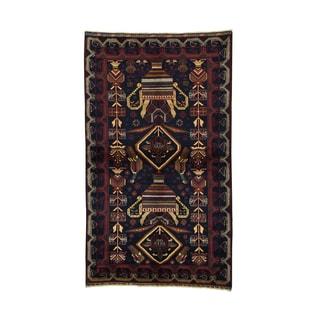 1800getarug Afghan Baluch Black Oriental Wool Carpet (3'10 x 6'7)