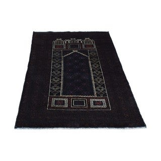 Afghan Baluch Prayer Design Wool Hand-knotted Oriental Rug (2'10 x 4'3)