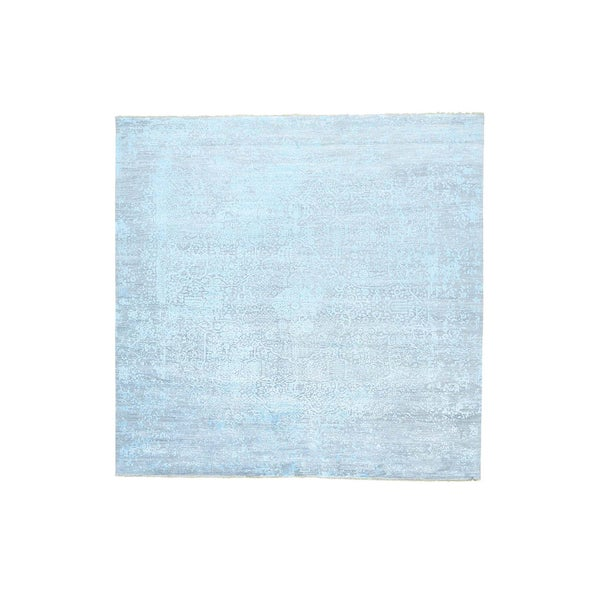 Modern Broken-design Wool and Silk Square Rug - 11'8 x11'10