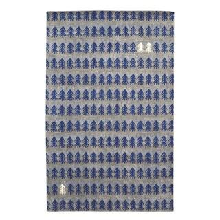 Genevieve Gorder Twigs Royal Blue/Grey Hand-tufted Wool/Viscose Rectangular Rug (5' x 8') - 5' x 8'