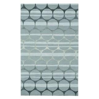 Kevin O'Brien Bucine Silver Wool Rectangle Hand Tufted Rug (5' x 8') - 5' x 8'