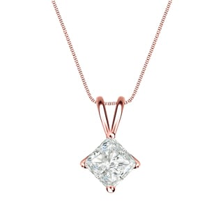 Auriya 14k Gold 1/2ct TDW Princess Cut Diamond 4-Prong Basket Solitaire Necklace (I-J, SI2-SI3)