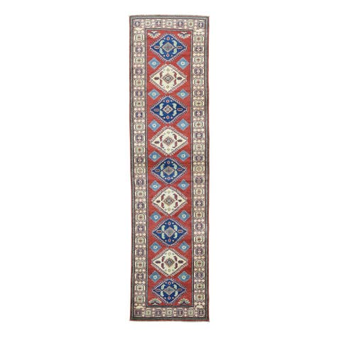Tribal Design Red Wool Hand-knotted Kazak Runner Rug (2'8 x 10'3)