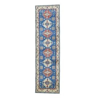 Hand-knotted Tribal Design Blue Kazak Runner Rug (2'9 x 10'1)