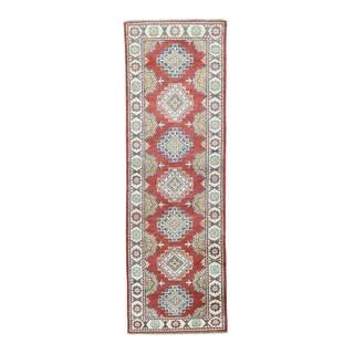 Kazak Tribal-design Red Wool Hand-knotted Runner Rug (2'8 x 8'5)