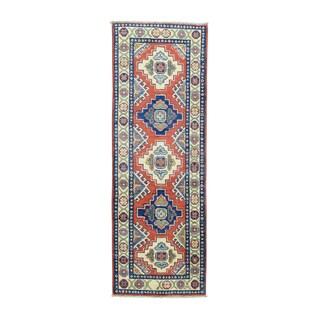 Kazak Red Wool Tribal Design Hand-knotted Oriental Runner Rug (2' x 5'8)