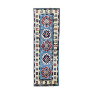 Geometric Design Kazak Blue Hand-knotted Runner Rug (2' x 6'1)