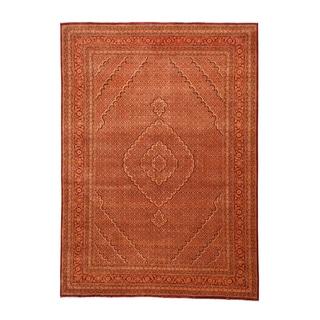 1800getarug Tabriz Mahi Tone-on-tone Red/Burnt Orange Wool and Silk Hand-knotted Rug (8'3 x 11'4)