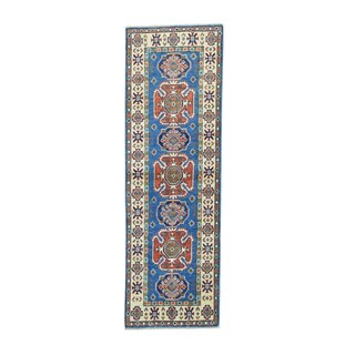 Blue Wool Geometric Pattern Kazak Oriental Runner Rug (2'x6')
