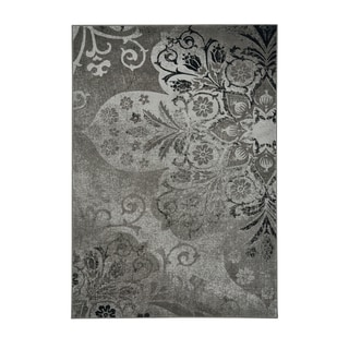 Kevin O'Brien Cavalcade-Venetian Floral-pattern Fog Grey Machine-woven Olefin Rug (5'3 x 7'6)