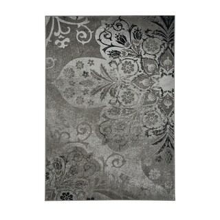 "Kevin O'Brien Cavalcade-Venetian Floral-pattern Fog Grey Machine-woven Olefin Rug (5'3 x 7'6) - 5'3"" x 7'6"""