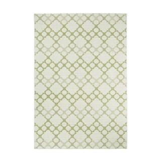 Kevin O'Brien Green/ White Elsinore-Santorini Rectangular Machine-woven Olefin Rug (5'3 x 7'6)