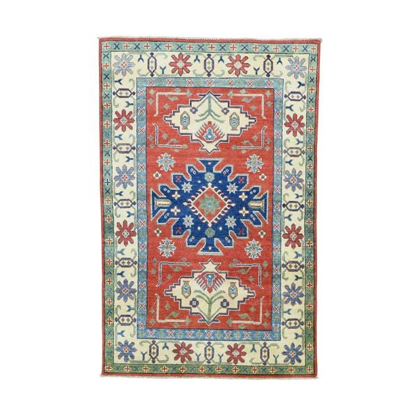 Shahbanu Rugs Kazak Geometric-design Multicolored Wool Handmade Oriental Rug - 4' x 6'1