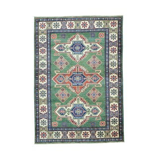 1800GetaRug Kazak Green/Multicolor Wool Hand-knotted Tribal Design Oriental Rug (4' x 5'10)