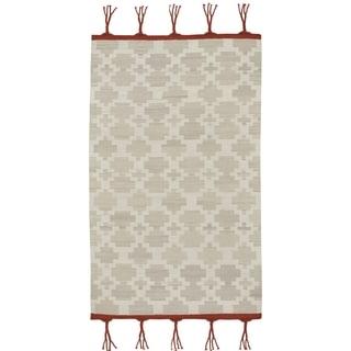 Genevieve Gorder Hyland Fog Grey Wool Rectangular Flat Woven Rug (7' x 9')