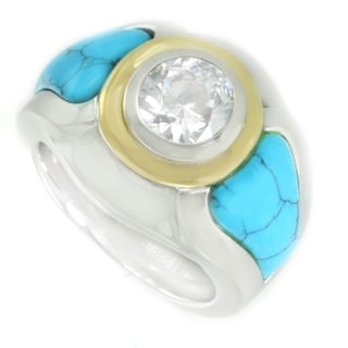 One-of-a-kind Michael Valitutti Stainless Steel Cubic Zirconia and Spider Turquoise Ring