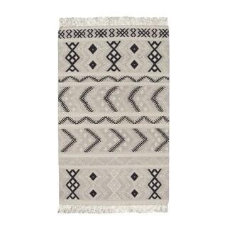Genevieve Gorder Mist Abstract Rectangular Flat-woven Rug (7' x 9')