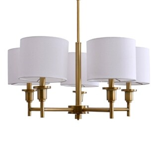 Catalina 19742-001 Bronze-plated Brass 5-light Shaded Chandelier - Bronze